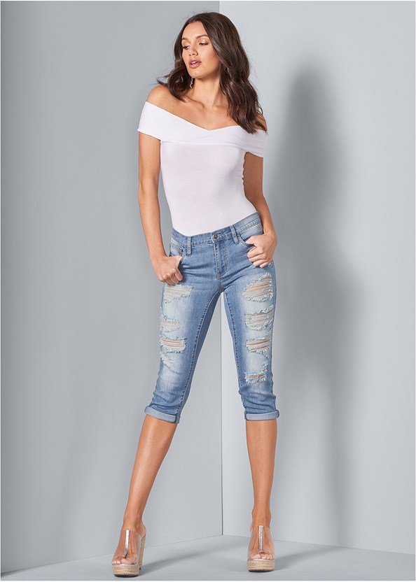 Distressed Jean Capris,Off The Shoulder Bodysuit,Full Figure Strapless Bra,Chandelier Earrings