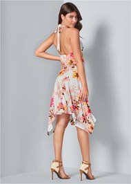 Back View Floral Sharkbite Dress