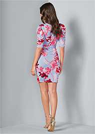 Back View Floral Faux Wrap Dress