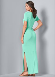 Full back view Ruched Maxi Dress