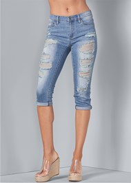 Front View Distressed Jean Capris