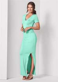 Full front view Ruched Maxi Dress