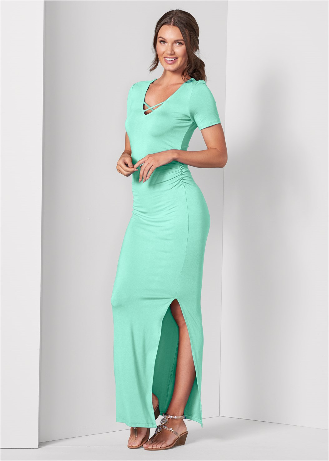 Ruched Maxi Dress,Naked T-Shirt Bra,Embellished Low Wedges