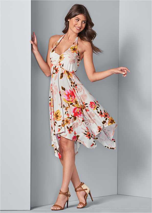 Floral Sharkbite Dress,Cleavage Enhancers