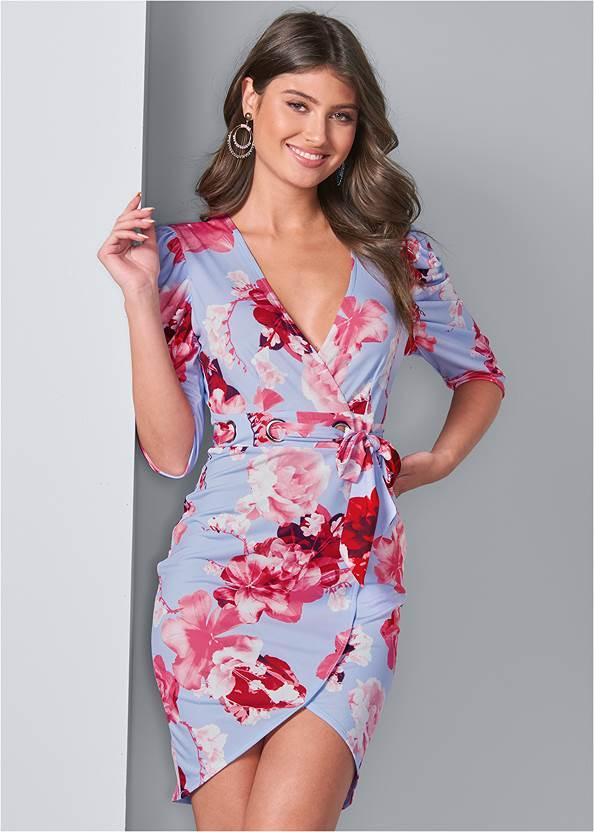 Front View Floral Faux Wrap Dress