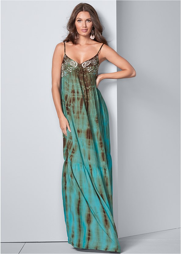 Tie Dye Maxi Dress,Everyday You Strapless Bra,Beaded Fringe Earrings,Lucite Raffia Wedge