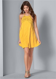 Alternate View A-Line Lace Trim Dress