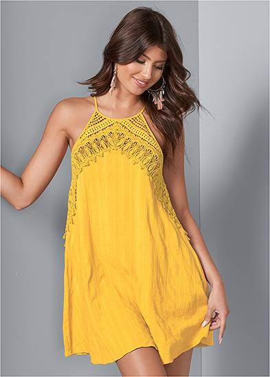 A-Line Lace Trim Dress