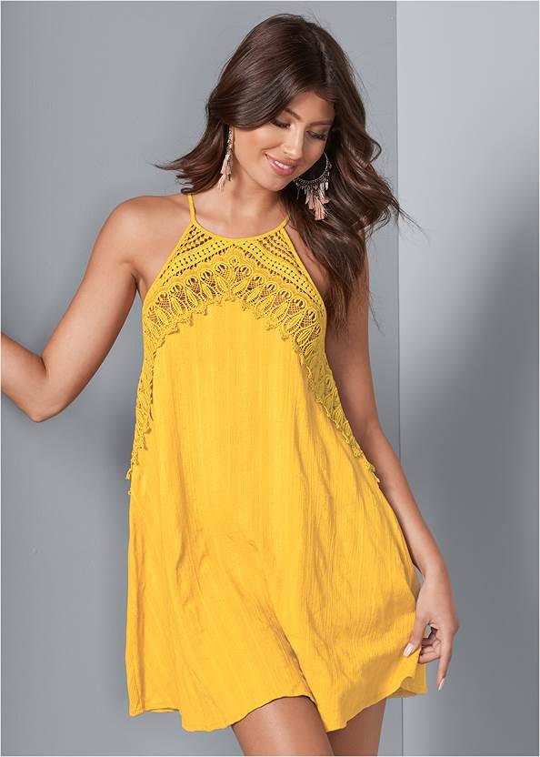A-Line Lace Trim Dress,Animal Print Bangle Set
