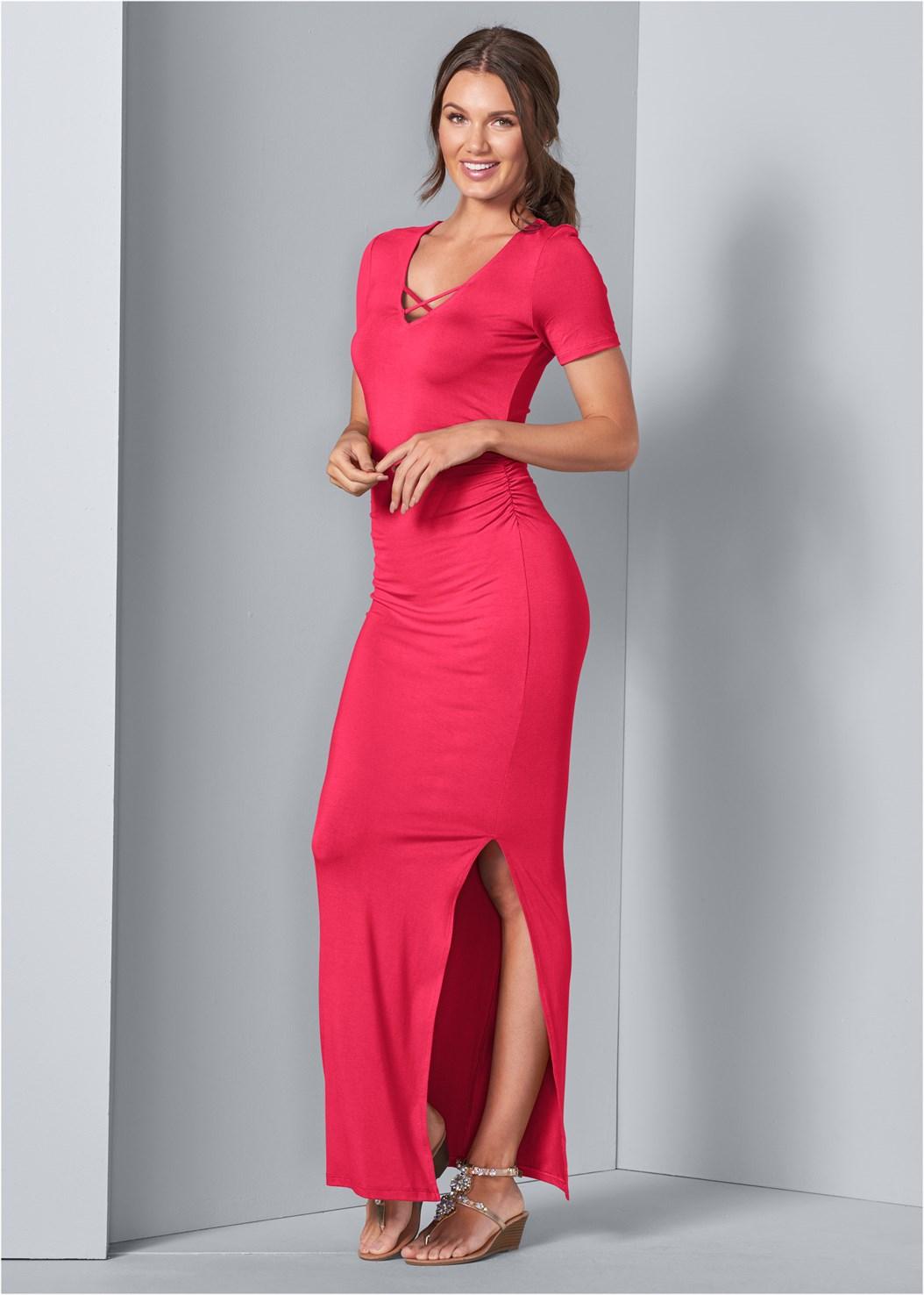 Ruched Maxi Dress,Embellished Low Wedges,Quilted Belt Bag