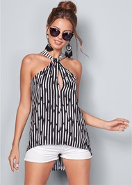 Alternate View Twist Neck Stripe Top
