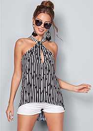 Front View Twist Neck Stripe Top
