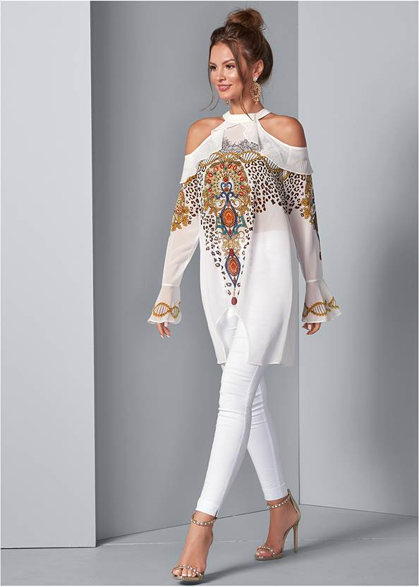 Front View Embellished Print Blouse