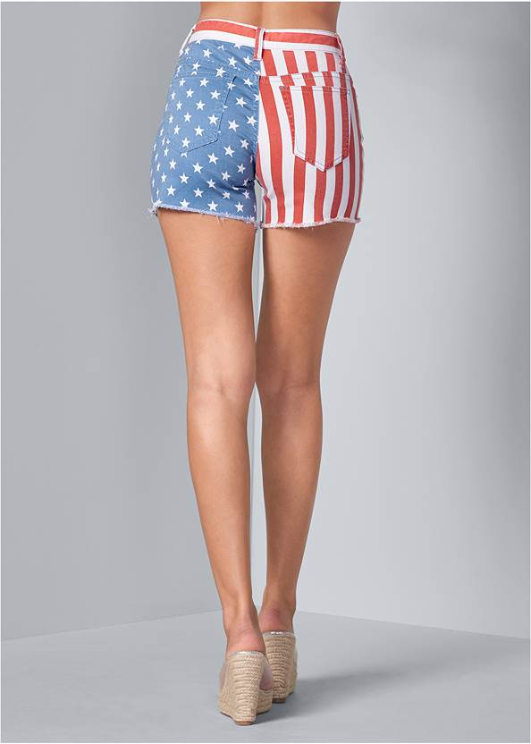 Back View American Flag Denim Shorts