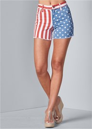 Front View American Flag Denim Shorts