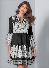 Front View Embroidered Detail Dress