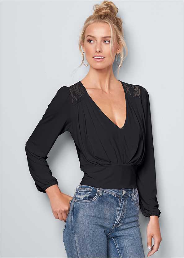 V-Neck Pleated Top,Mid Rise Color Skinny Jeans