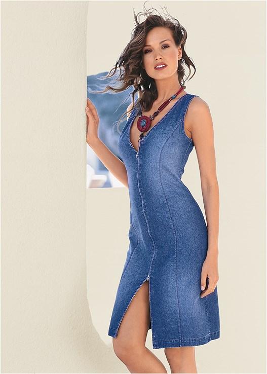 ZIP DETAIL DENIM DRESS,PUSH UP BRA BUY 2 FOR $40,BLOCK HEELS,FRINGE CROSSBODY