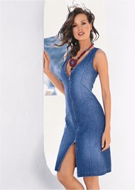 Front View Zip Detail Denim Dress