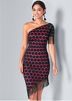 one shoulder fringe dress