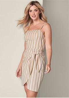 linen striped cami dress