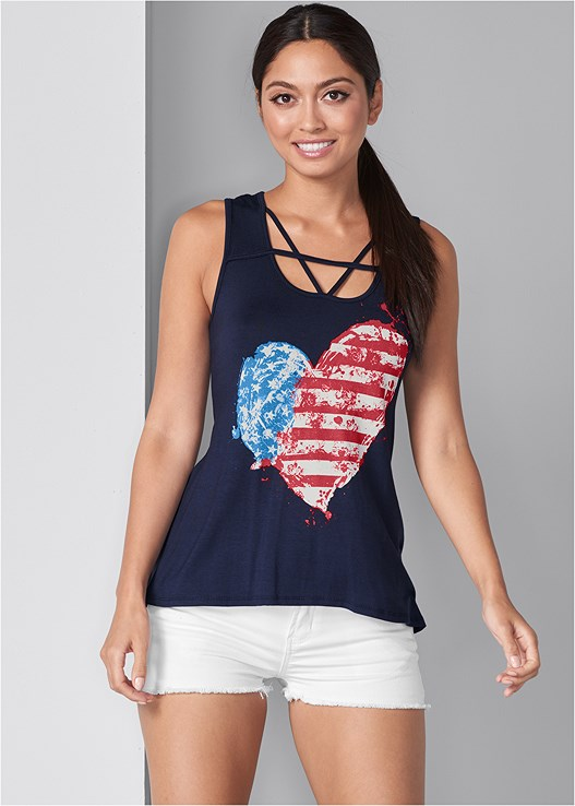 STRAPPY AMERICAN FLAG TANK,CUT OFF JEAN SHORTS