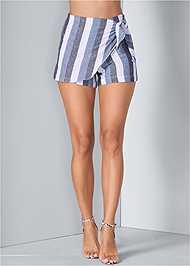 Front View Linen Wrap Front Shorts