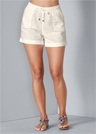 Front View Linen Drawstring Shorts
