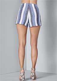 Back View Linen Wrap Front Shorts