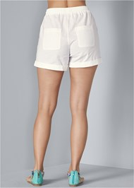 Back View Linen Drawstring Shorts