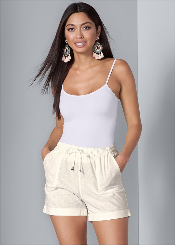 Linen Drawstring Shorts,Basic Cami Two Pack,Beaded Fringe Earrings,Studded Belt Bag