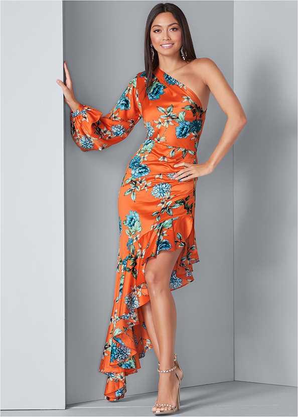 One Shoulder Ruffle Dress,Embellished Heels