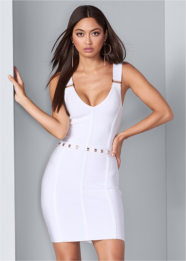 Slimming Bodycon Dress,Seamless Full Body Shaper,Embellished Heels,Circle Ring Detail Handbag