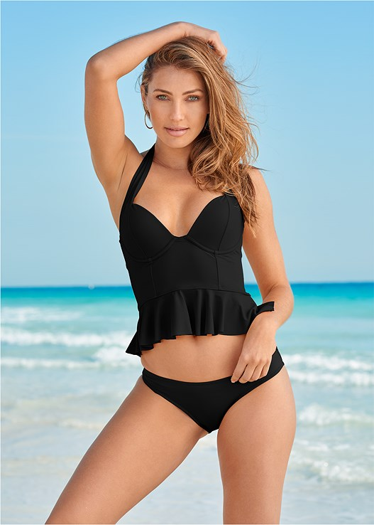HALTER PEPLUM TANKINI TOP,LOW RISE BIKINI BOTTOM,MID RISE BOTTOM,MID RISE FULL CUT BOTTOM,SWIM SHORT