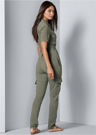 Back View Cargo Lounge Jumpsuit