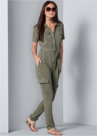 Front View Cargo Lounge Jumpsuit