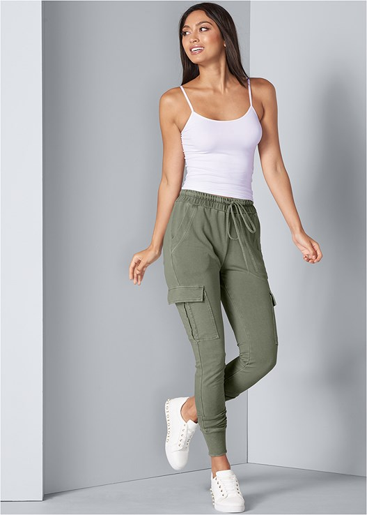 CARGO LOUNGE JOGGER,SEAMLESS CAMI,PEARL DETAIL SNEAKERS,LACE TOP PANTIES 5 FOR $29