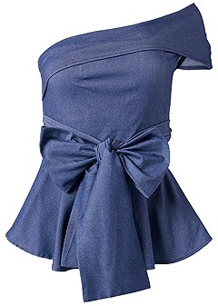 plus size tie front chambray top