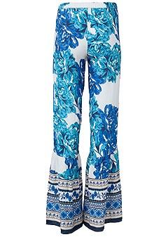 plus size printed wide leg pants