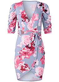 Alternate View Floral Faux Wrap Dress