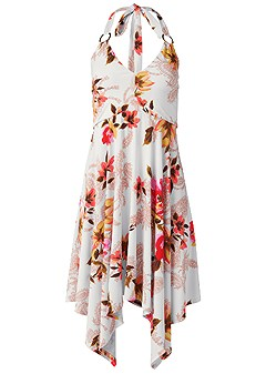 plus size floral sharkbite dress