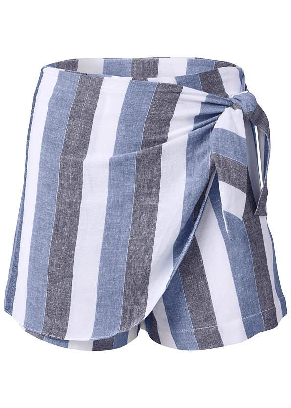 Alternate View Linen Wrap Front Shorts