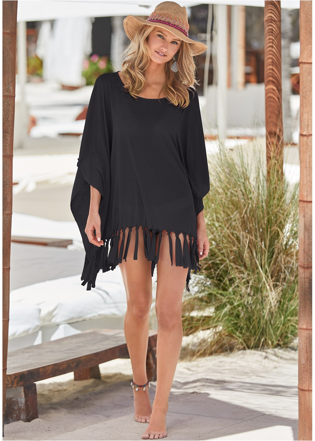 Fringe Detail Cover-Up,Marilyn Underwire Push Up Halter Top,Wrapped Mid Rise Bottom