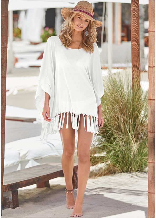 Fringe Detail Cover-Up,Goddess Enhancer Push Up Halter Top,Scoop Front Classic Bikini Bottom ,Low Rise Classic Bikini Bottom