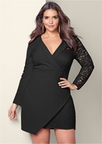 plus size lace surplice detail dress