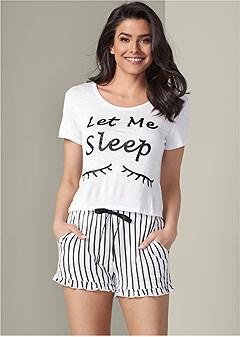 graphic short sleep set