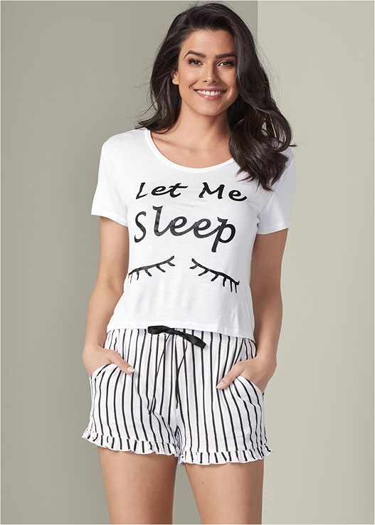 GRAPHIC SHORT SLEEP SET,LONGLINE BRAMI BRALETTE 2PK,LACE THONG 3 FOR $19