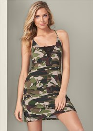 Cropped front view Camo Lace Trim Sleep Dress