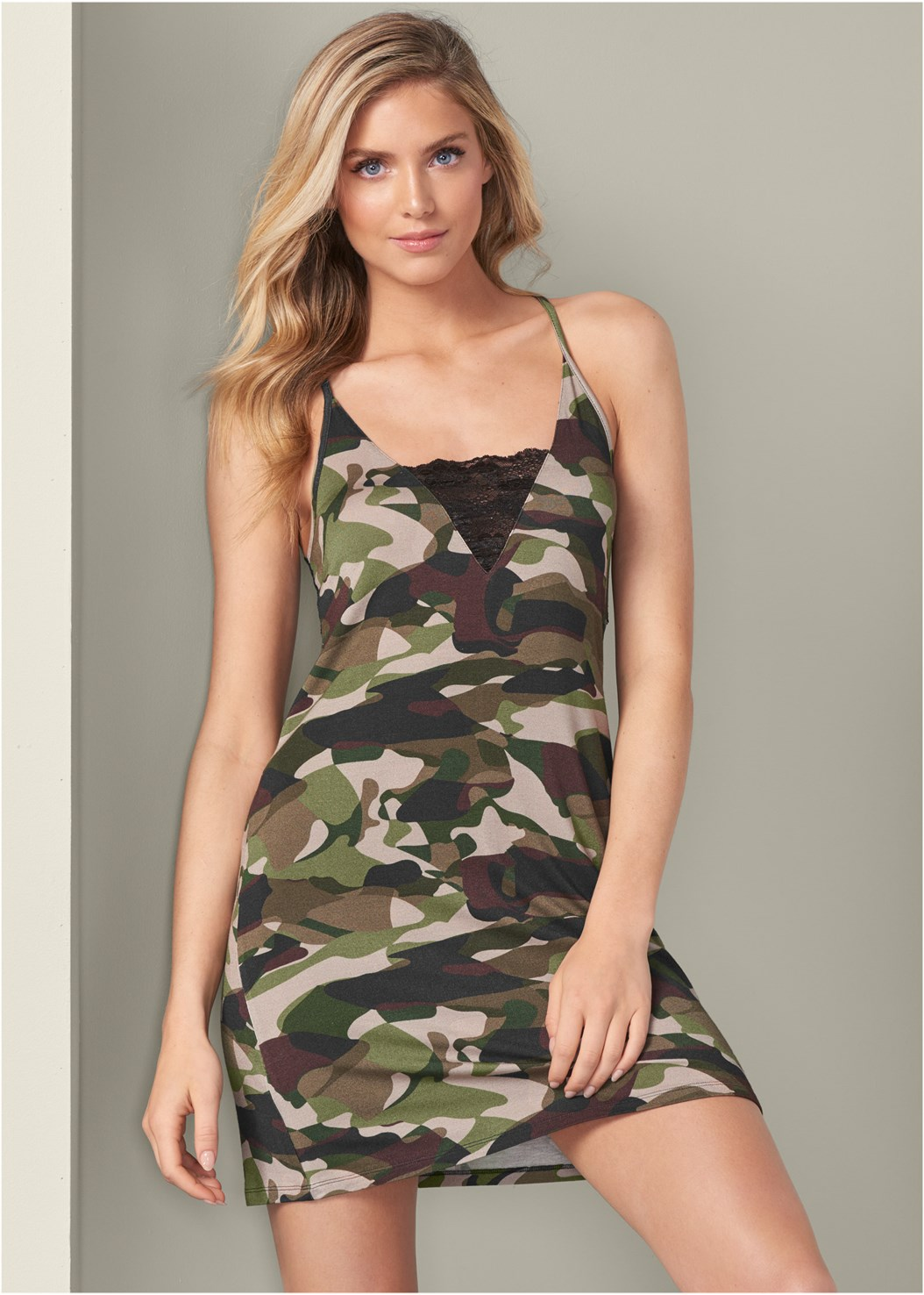 Camo Lace Trim Sleep Dress