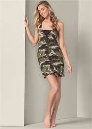 Full front view Camo Lace Trim Sleep Dress